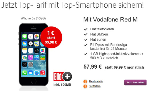 apple iphone 5s mit vodafone red m vertrag fuer nur 1e. Black Bedroom Furniture Sets. Home Design Ideas