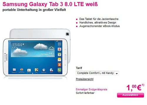 samsung galaxy tab 3 8 0 lte mit vertrag bei t mobile 228e. Black Bedroom Furniture Sets. Home Design Ideas