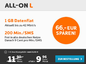 Simyo Smartphone Tarif All-On L mit 66 Euro Rabatt